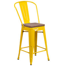 "24"" High Yellow Metal Counter Height Stool with Back and Wood Seat"