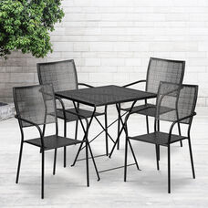 "Commercial Grade 28"" Square Black Indoor-Outdoor Steel Folding Patio Table Set with 4 Square Back Chairs"