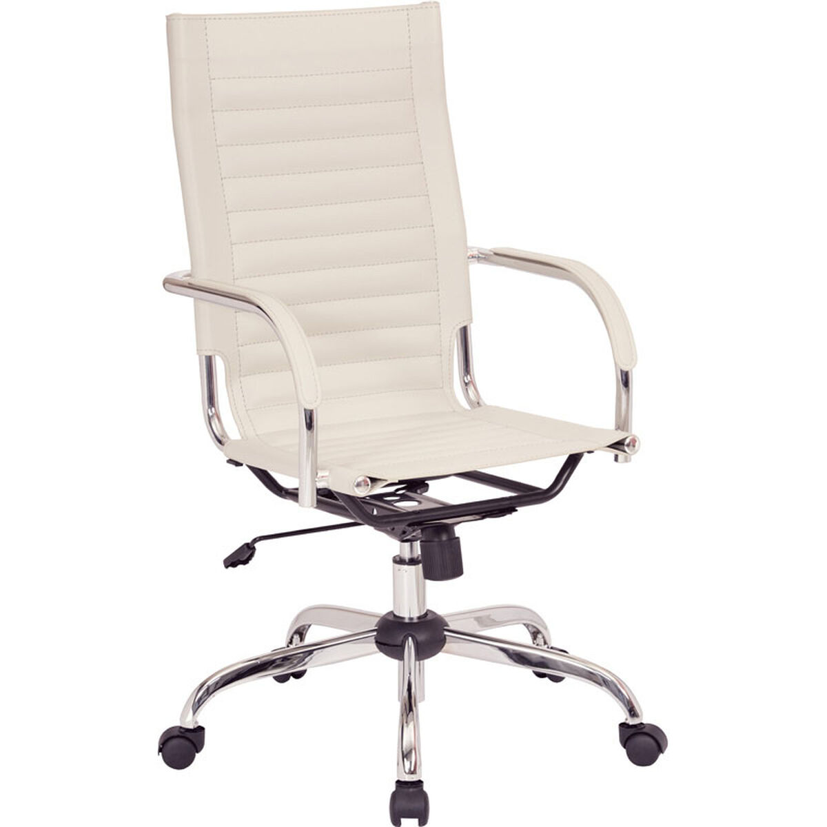 Our Ave Six Trinidad High Back Vinyl Office Chair With Chrome Base And Casters Cream