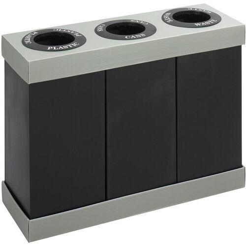 Our At-Your-Disposal® Three Separate 28 Gallon Bin Recycling Center - Black and Gray is on sale now.
