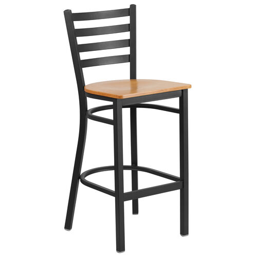 Our HERCULES Series Black Ladder Back Metal Restaurant Barstool - Natural Wood Seat is on sale now.