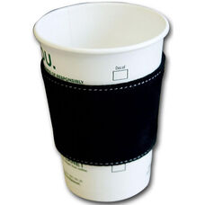 Suede Leather Coffee Sleeve - Black