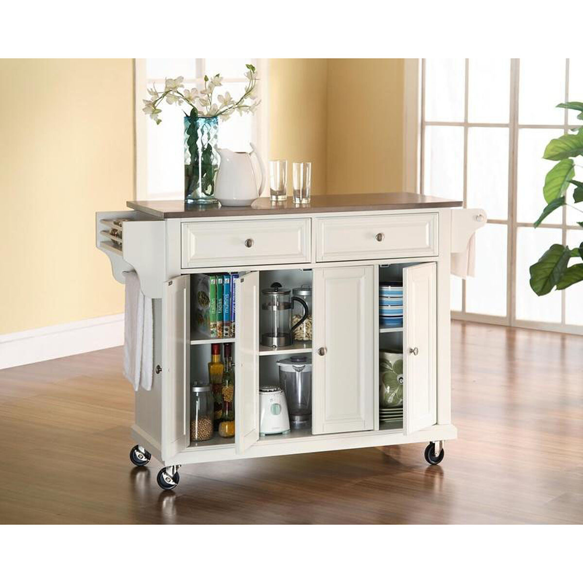 Stainless Steel Top Kitchen Island Cart with Cabinets - White Finish