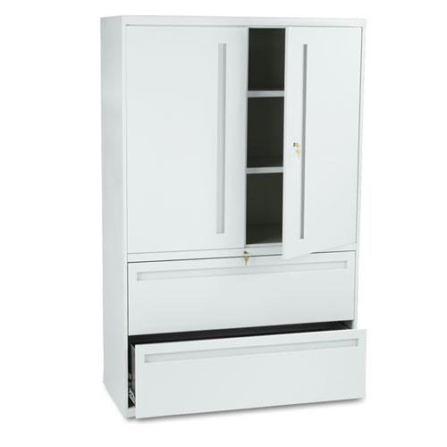 Our HON® 700 Series Lateral File w/Storage Cabinet - 42w x 19-1/4d - Light Gray is on sale now.