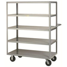 Welded Truck with Push Handle and 5 Flush Shelves