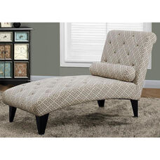 Tufted Fabric Chaise Lounger with Matching Pillow - Maze