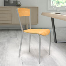 Metal Restaurant Chair with Natural Wood Back & Seat