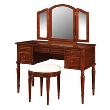Vanity with Mirror and Bench - Lightly Distressed Warm Cherry with Off White Fabric Seat