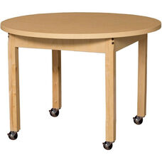 Mobile Round High Pressure Laminate Table with Hardwood Legs - 36
