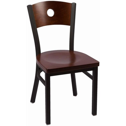 Our Circle Series Wood Back Armless Chair with Steel Frame and Wood Seat - Walnut is on sale now.