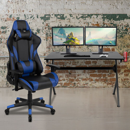 BlackArc Black Gaming Desk and Blue/Black Reclining Gaming Chair Set with Cup Holder, Headphone Hook & 2 Wire Management Holes