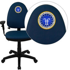 Embroidered Mid-Back Navy Blue Fabric Multifunction Ergonomic Task Office Chair with Adjustable Lumbar & Arms