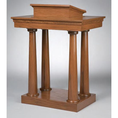 Stained Red Oak Open Pulpit with Tapered Column Legs