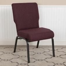 Advantage 20.5 in. Grape/Amethyst Molded Foam Church Chair with Book Rack