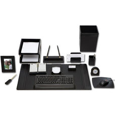 Classic Leather 16 Piece Desk Set - Black