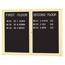 2 Door Indoor Enclosed Directory Board with Ivory Anodized Aluminum Frame - 36