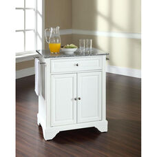 Solid Granite Top Portable Kitchen Island with Lafayette Feet - White Finish