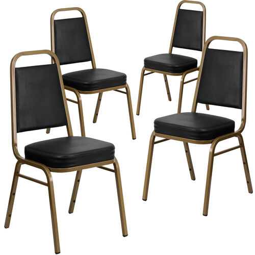 Our 4 Pack HERCULES Series Trapezoidal Back Stacking Banquet Chair in Black Vinyl - Gold Frame is on sale now.