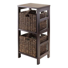 Granville 3-Pc Storage Shelf in Espresso with 2 Foldable Baskets