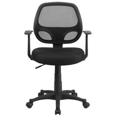 Basics Mid-Back Mesh Swivel Task Office Chair with Arms, Black