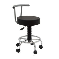 Futura Height Adjustable Studio Stool with Footring and 5 Casters - Black