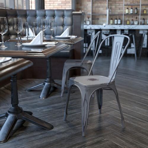 Commercial Grade Distressed Silver Gray Metal Indoor-Outdoor Stackable Chair