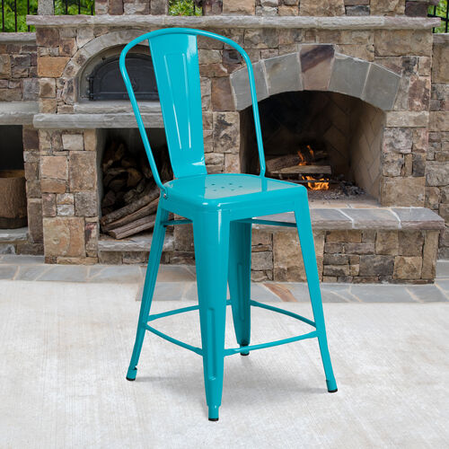 """Our Commercial Grade 24"""" High Crystal Teal-Blue Metal Indoor-Outdoor Counter Height Stool with Back is on sale now."""