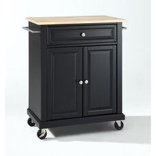 Natural Wood Top Portable Kitchen Island with Casters - Maple and Black Finish