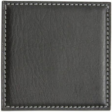 Leatherette Low Profile Coaster with Stitching - Black