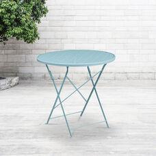 "Commercial Grade 30"" Round Sky Blue Indoor-Outdoor Steel Folding Patio Table"