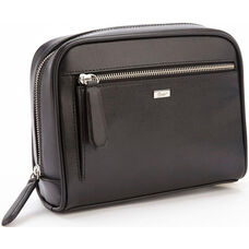 Toiletry Travel Grooming Wash Bag - Saffiano Genuine Leather - Black