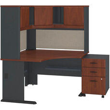 Series A Collection 48'' W x 48'' D Corner Desk with Hutch and Three Drawer Mobile Pedestal - Hansen Cherry