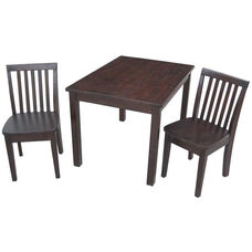 Mission Juvenile Solid Wood 3 Piece Table Set with 2 Armless Chairs - Rich Mocha