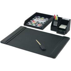 Classic Leather 4 Piece Desktop Organizer Desk Set - Black