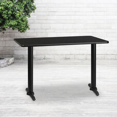 30'' x 48'' Rectangular Black Laminate Table Top with 5'' x 22'' Table Height Bases