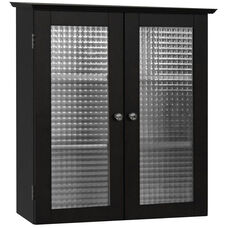 Chesterfield Wall Cabinet with Two Glass Doors - Espresso