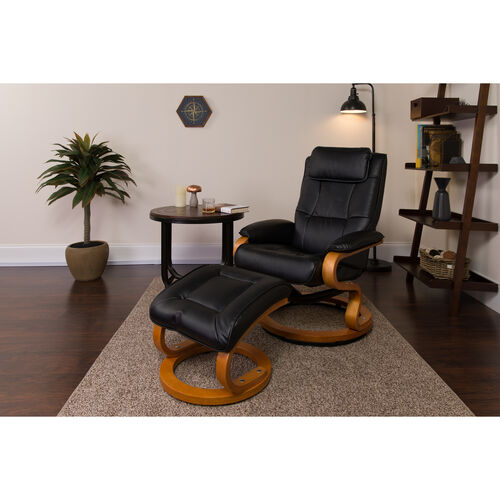 Our Contemporary Multi-Position Recliner and Ottoman with Swivel Maple Wood Base in Black LeatherSoft is on sale now.