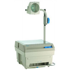 White and Gray Closed Head Overhead Projector with Rack and Pinion Focusing Capabilities - 14