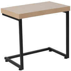 Hyde Square Collection Beech Wood Grain Finish Side Table with Black Metal Legs