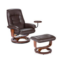 Bonded Leather Swivel Recliner with Attached Side Table and Ottoman - Cafe Brown