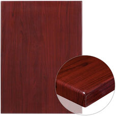 "30"" x 42"" Rectangular High-Gloss Mahogany Resin Table Top with 2"" Thick Edge"