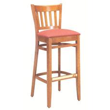 1850 Bar Stool w/ Upholstered Seat & Brass Trim Footrest - Grade 1