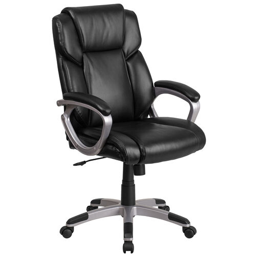 Our Mid-Back Black LeatherSoft Executive Swivel Office Chair with Padded Arms is on sale now.