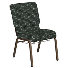 Embroidered 18.5''W Church Chair in Eclipse Pewter Fabric with Book Rack - Gold Vein Frame