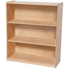 Wooden 3 Fixed Shelf Bookcase with Plywood Back - 36