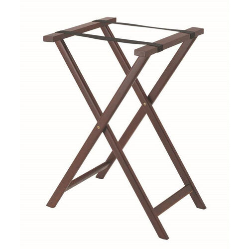 Hardwood Tray Stand with Nylon Support Straps - Dark Stain and Semi Gloss Lacquer Finish