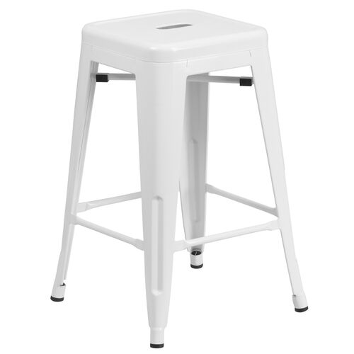 """Our Commercial Grade 24"""" High Backless White Metal Indoor-Outdoor Counter Height Stool with Square Seat is on sale now."""