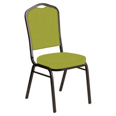 Embroidered Crown Back Banquet Chair in E-Z Wallaby Lime Vinyl - Gold Vein Frame