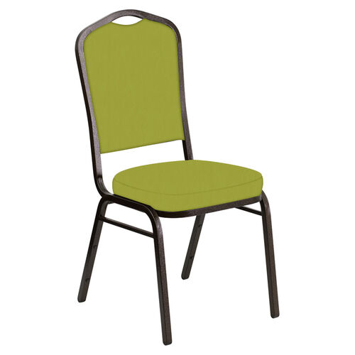 Our Embroidered Crown Back Banquet Chair in E-Z Wallaby Lime Vinyl - Gold Vein Frame is on sale now.