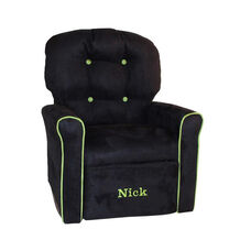 Kids Personalized 4 Button Microsuede Rocking Recliner with Kiwi Trim - Black